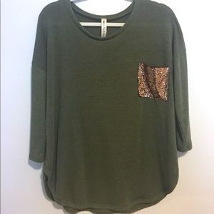aab7dd6fa81945 Sweaters - Green Gold sequin pocket sweater